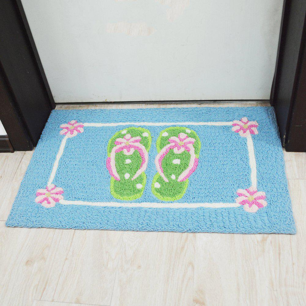 Door Rug Simple Green Footprint Pattern Antiskidding Floor Mat - COLORMIX 50X80CM