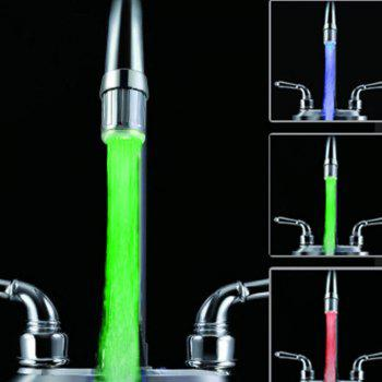 7 Color RGB Colorful LED Light Water Glow Faucet Tap Head Home Bathroom Decoration Water Tap - SILVER
