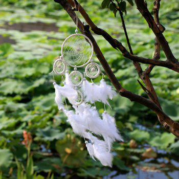 White Wind Chimes Indian Style pearl Feather Pendant Dream Catcher Gift - WHITE
