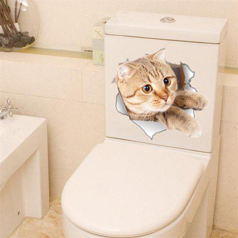 Chat Vivid 3D Smashed Interrupteur Wall Sticker Salle De Bains Toilettes Kicthen Décalcomanies Décoratives Affiche PVC Mural - Beige