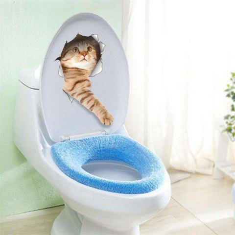 Cat Vivid 3D Smashed Switch Wall Sticker Bathroom Toilet Kicthen Decorative Decals Poster PVC Mural - BROWN D STYLE