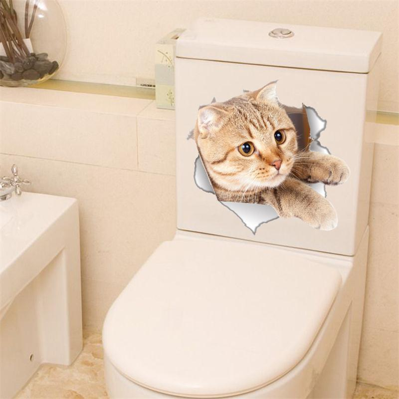 Cat Vivid 3D Smashed Switch Wall Sticker Bathroom Toilet Kicthen Decorative Decals Poster PVC Mural - BEIGE