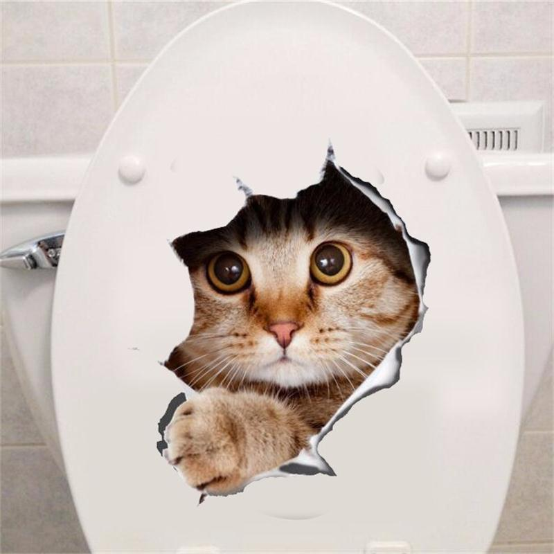 Cat Vivid 3D Smashed Switch Wall Sticker Bathroom Toilet Kicthen Decorative Decals Poster PVC Mural