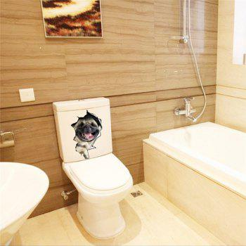 3D Vivid Dogs Wall Sticker Toilet Hole View  Bathroom Room Decoration - BROWN C STYLE