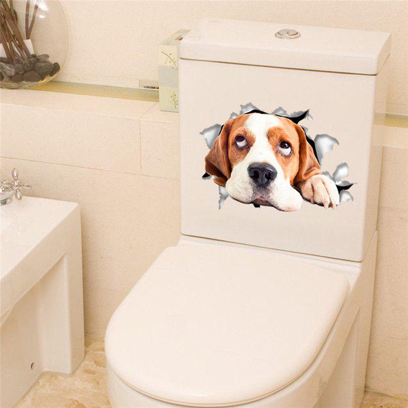 3D Vivid Dogs Wall Sticker Toilet Hole View  Bathroom Room Decoration - BROWN D STYLE