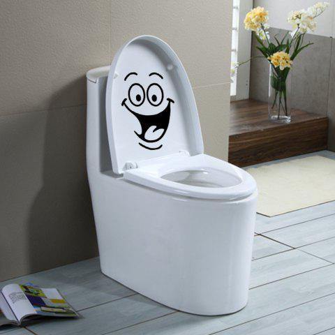 Smile Face Laughing Toilet Stickers Diy Furniture Decoration Wall Decals - BLACK