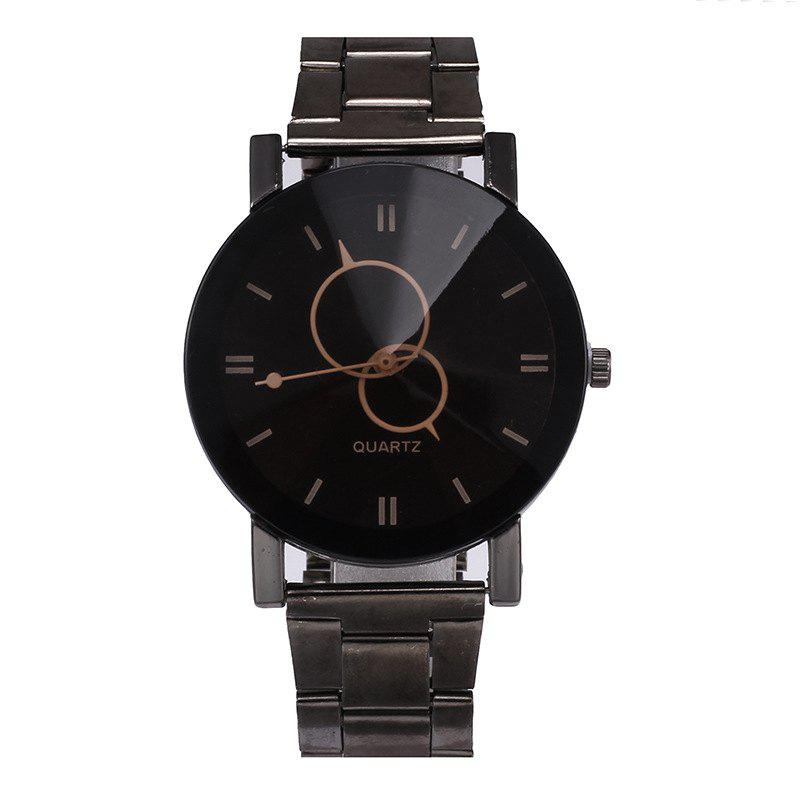 V5 Stainless Stee Band Creative Couple Quartz Watch - BLACK