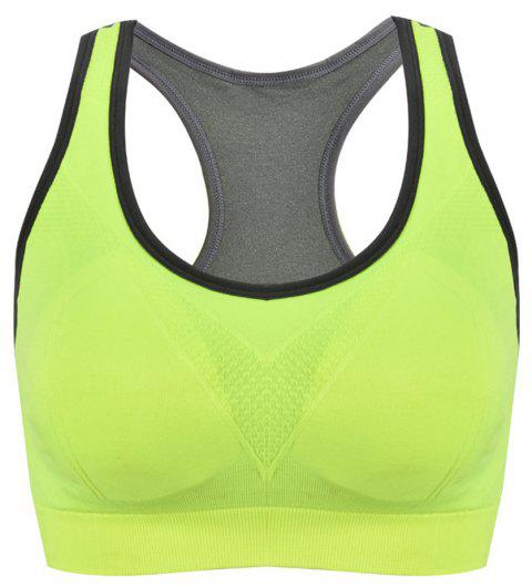 Women Without Steel Ring  Prevent Sagging Sports Bra - NEON GREEN M
