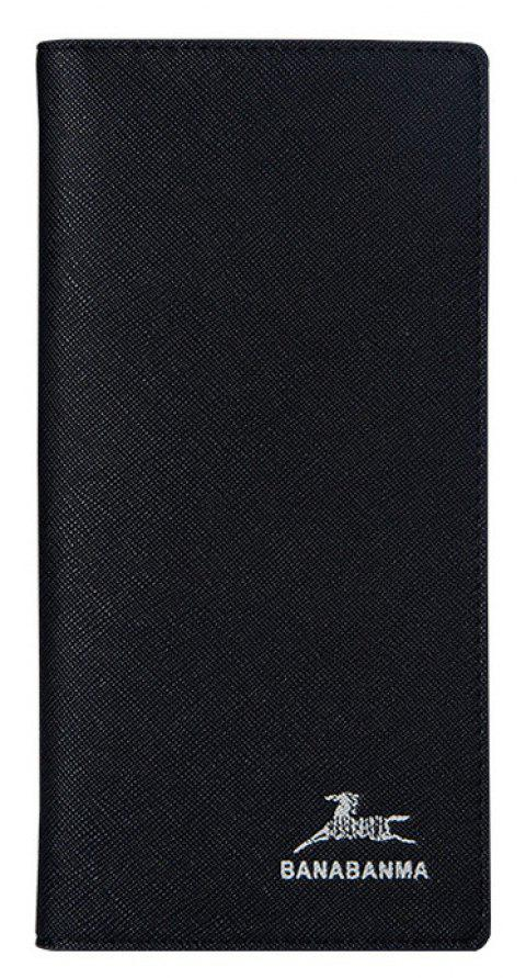 Thin Men's Long Wallet Cross-grain Fashion Youth Wallet Soft Leather Buttons - BLACK