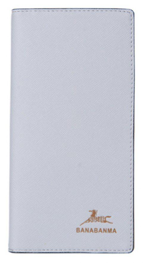 Thin Men's Long Wallet Cross-grain Fashion Youth Wallet Soft Leather Buttons - WHITE