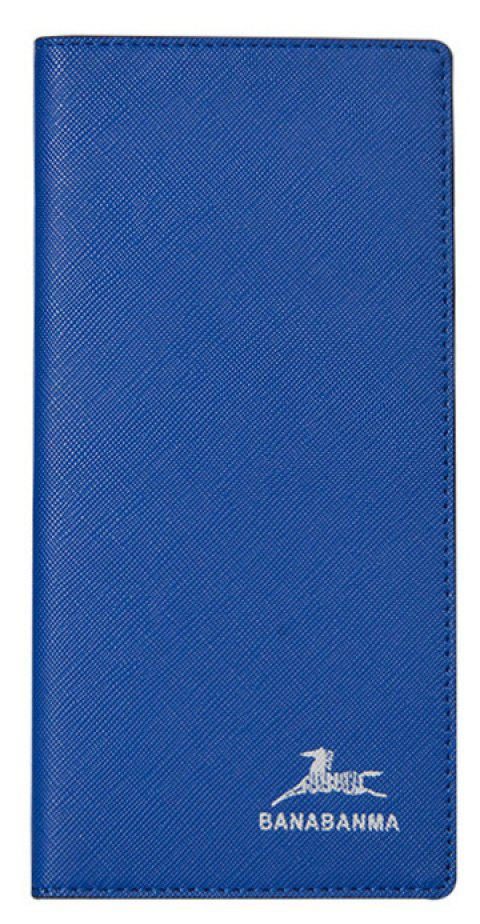 Thin Men's Long Wallet Cross-grain Fashion Youth Wallet Soft Leather Buttons - BLUE