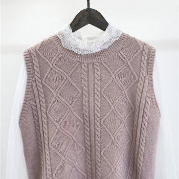 Bud Silk Garment V-neck Wool Knit Vest Two suits - PINK ONE SIZE