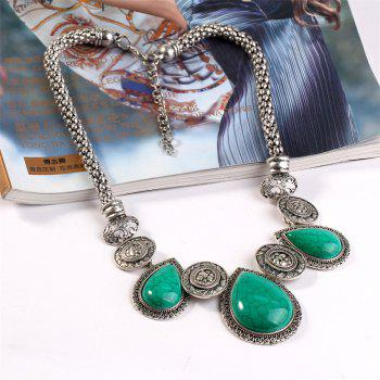 Fashion Is Exaggerated and Loose Stone Necklace - SILVER/GREEN