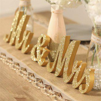 170717Party MRMRS Gold Glitter Letters Wooden Props Home Furnishing Decorative Ornaments 1SET - GOLDEN