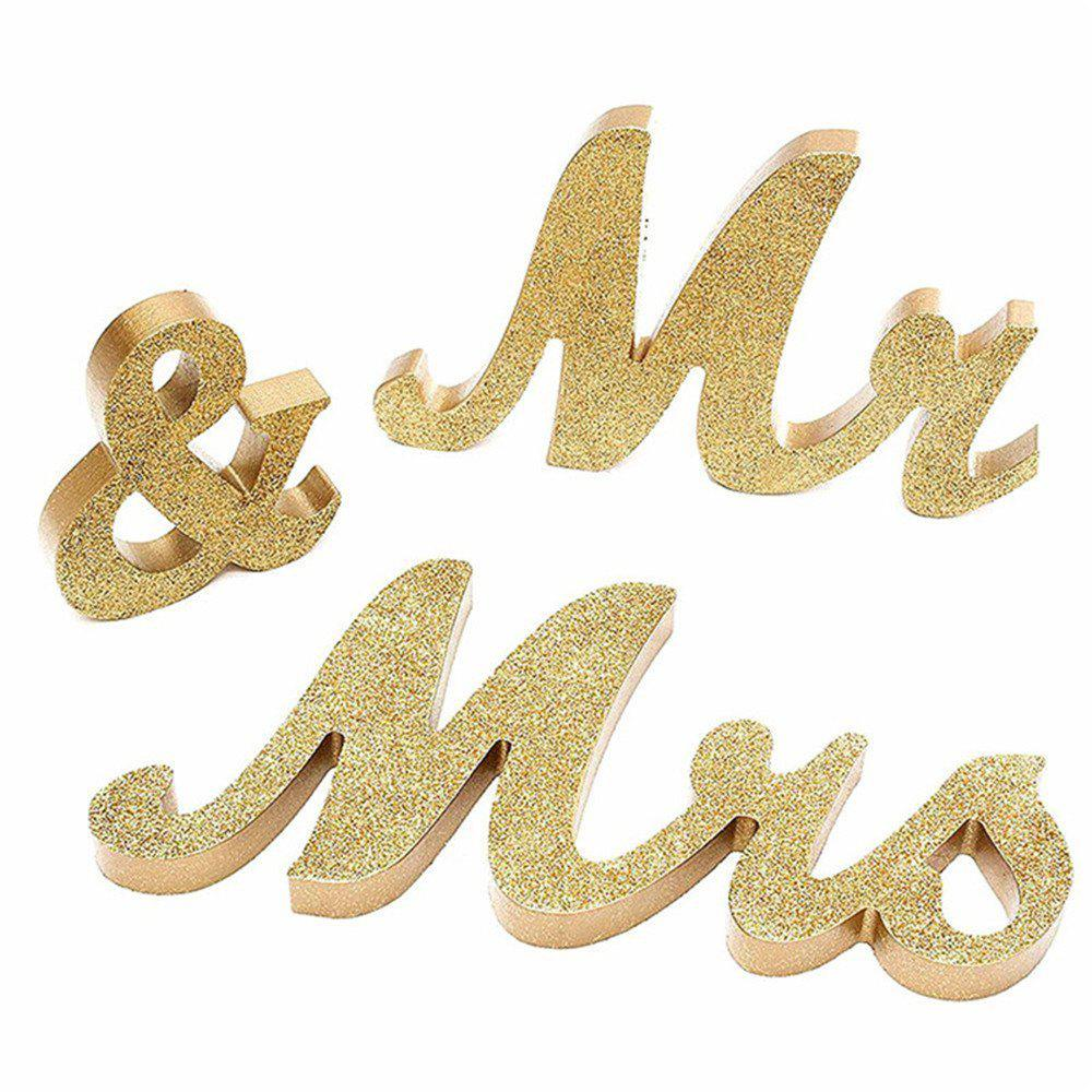 2018 170717Party MRMRS Gold Glitter Letters Wooden Props Home ...