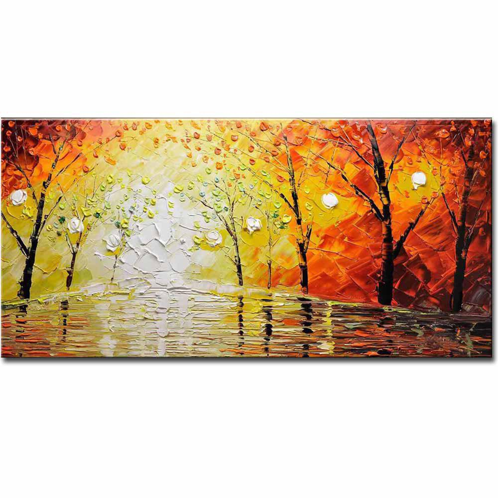 2018 Handmade Home Wall Decorative Palette Knife Abstract Landscape ...