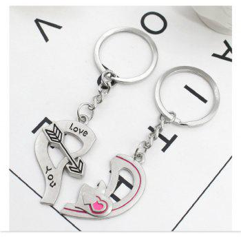 Arrow Heart Style Decoration Metal Key Chain 2PCS - SILVER