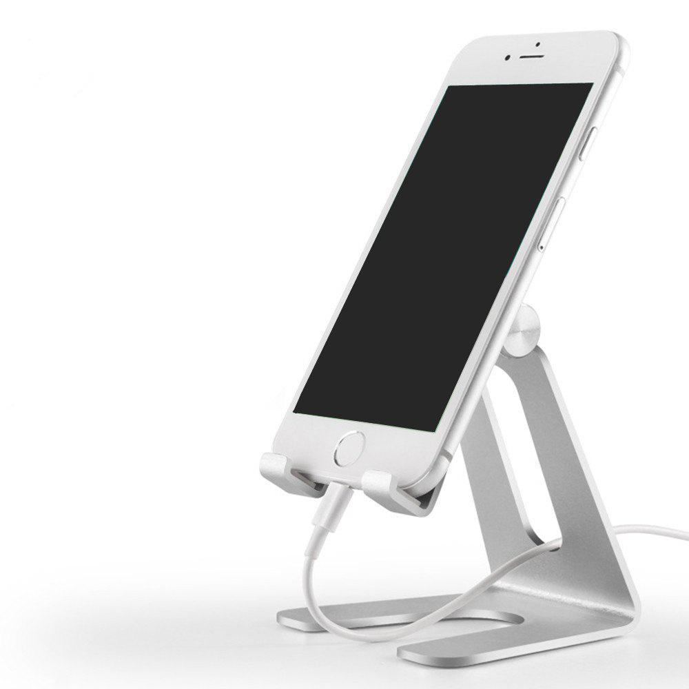 Phone Holder Premium Aluminum Metal Stand for Smartphone / Tablet Desk - SILVER