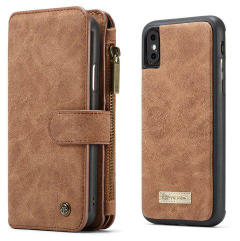 CaseMe Wallet Case Detachable 2 in 1 Cover Luxury Handmade for iPhone XS / X - BROWN