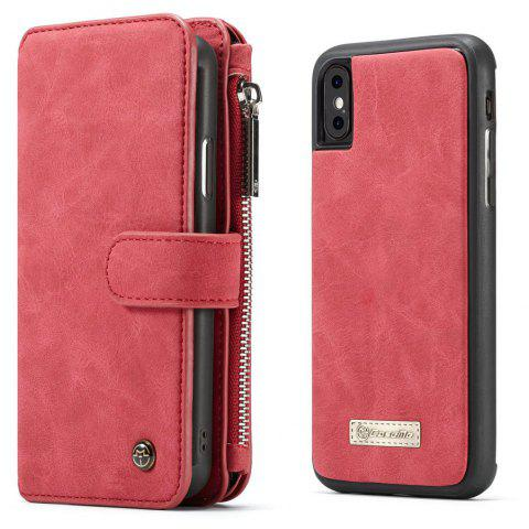 CaseMe Wallet Case Detachable 2 in 1 Cover Luxury Handmade for iPhone XS / X - RED