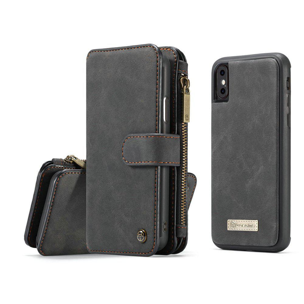 CaseMe for iPhone X Wallet Case with Detachable 2 in 1 Slim TPU PC Cover Luxury Handmade PU Leather 14 Card Slots - BLACK