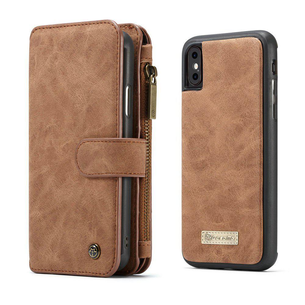 CaseMe for iPhone X Wallet Case with Detachable 2 in 1 Slim TPU PC Cover Luxury Handmade PU Leather 14 Card Slots - BROWN