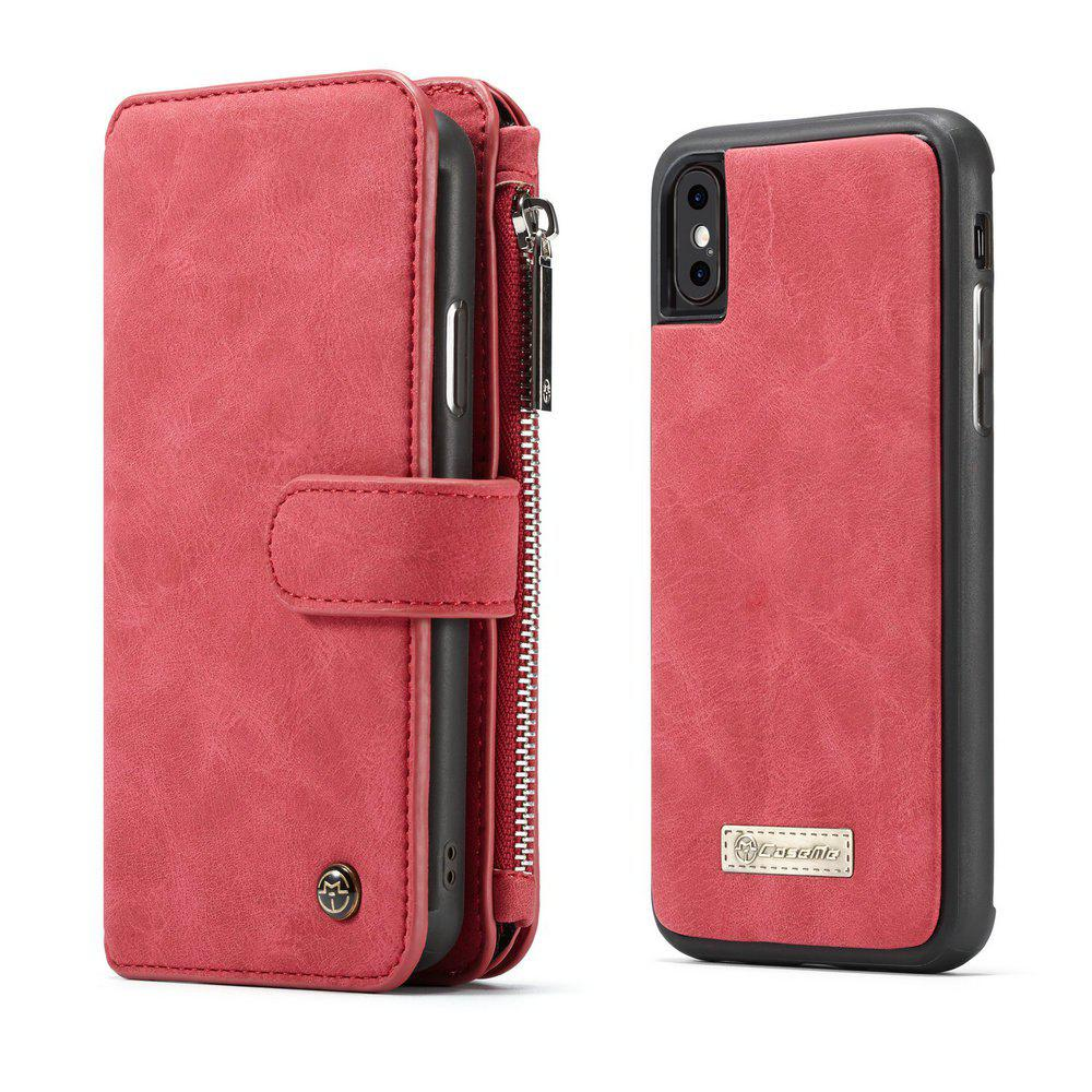 CaseMe for iPhone X Wallet Case with Detachable 2 in 1 Slim TPU PC Cover Luxury Handmade PU Leather 14 Card Slots - RED