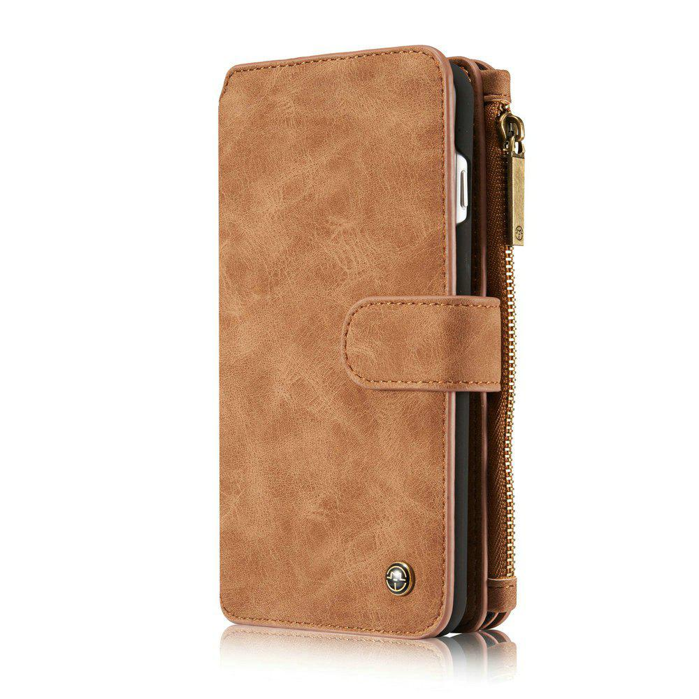 CaseMe for iPhone 7 Plus/ 8 Plus Split Leather 14 Multi-slot Retro Wallet Case with Magnetic Detachable TPU PC Cover - BROWN