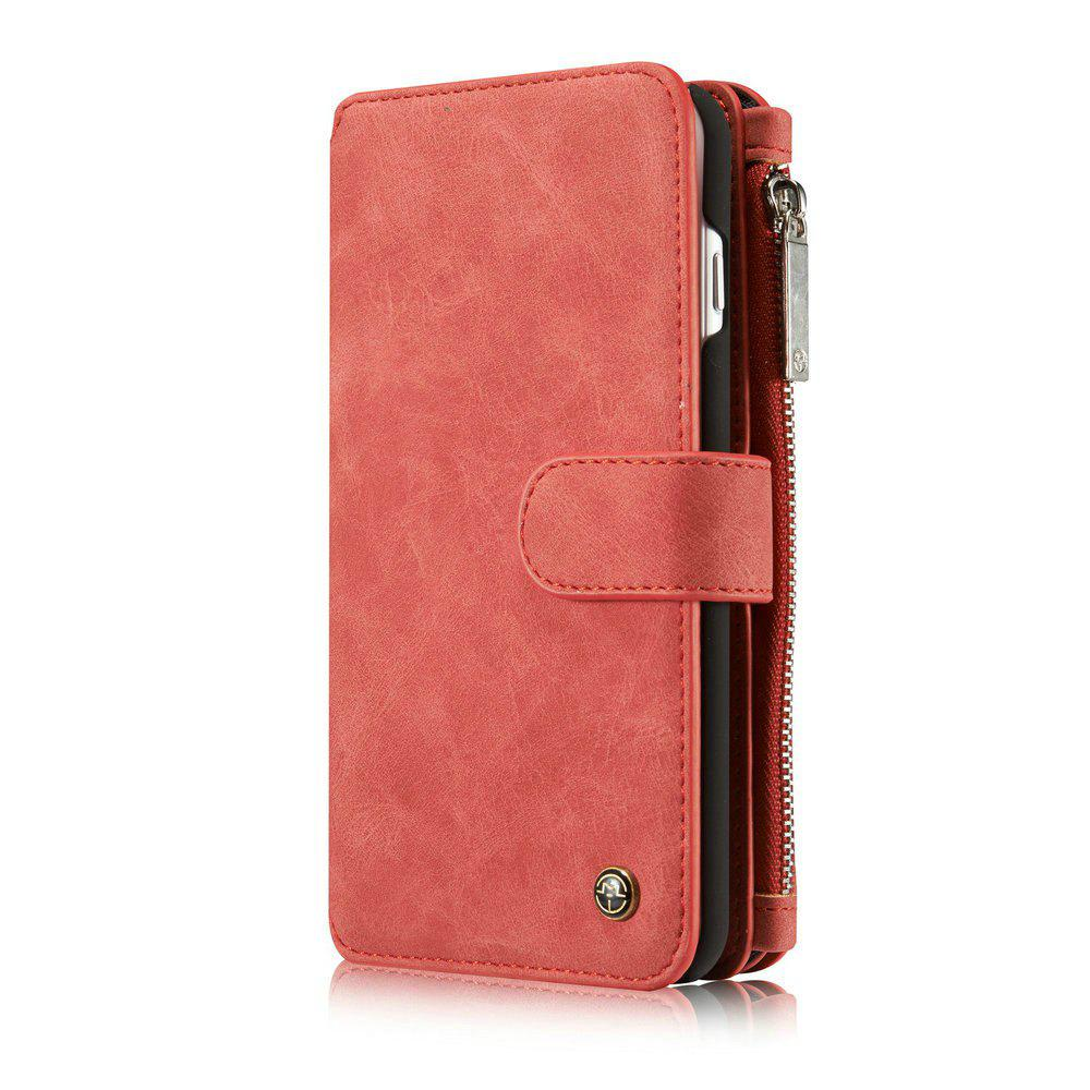 CaseMe for iPhone 7 Plus/ 8 Plus Split Leather 14 Multi-slot Retro Wallet Case with Magnetic Detachable TPU PC Cover - RED