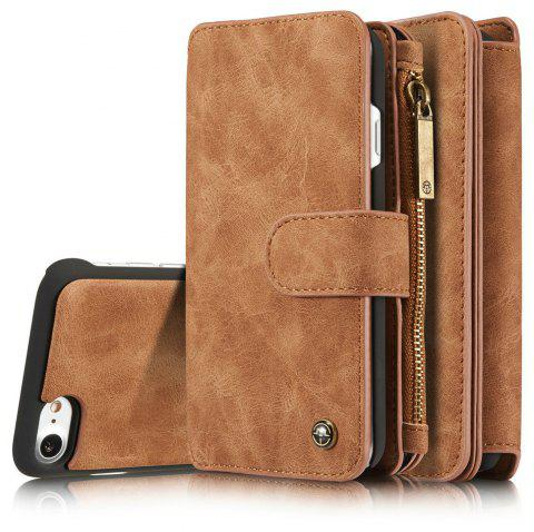 CaseMe for iPhone 7/8 Leather Case Flip Book Magnetic Closure Wallet Cover with Kickstand Feature 14 Card Slots Holder - BROWN
