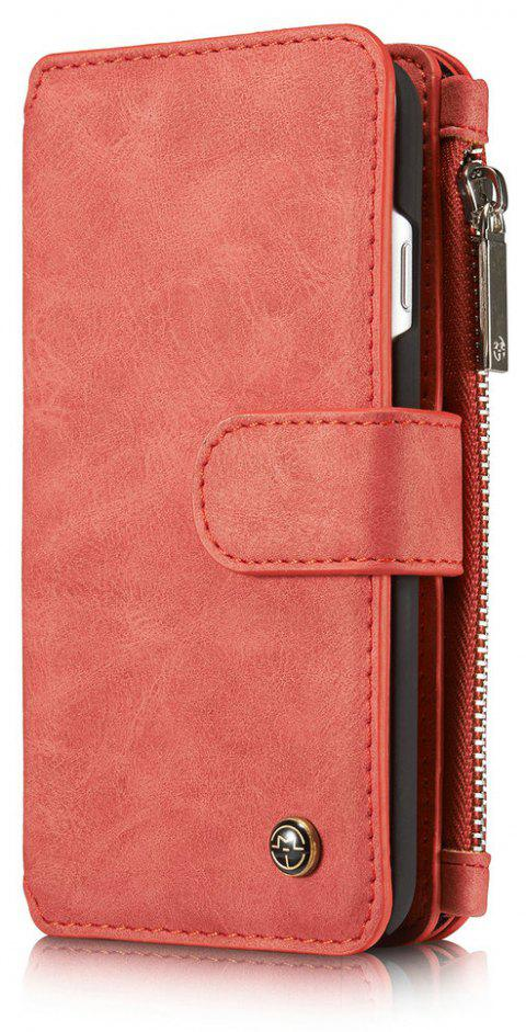 CaseMe for iPhone 7/8 Leather Case Flip Book Magnetic Closure Wallet Cover with Kickstand Feature 14 Card Slots Holder - RED