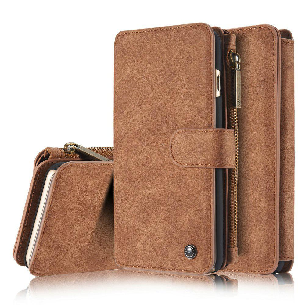 CaseMe for iPhone Plus 6 / 6s Plus Wallet Case Classic Design Durable Magnetic Closure and 14 Card Slots Detachable Back Cover - BROWN
