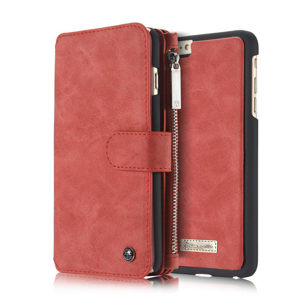 CaseMe for iPhone Plus 6 / 6s Plus Wallet Case Classic Design Durable Magnetic Closure and 14 Card Slots Detachable Back Cover - RED