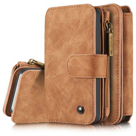 CaseMe for iPhone 5/5S/SE Premium PU Leather 2 in 1 Wallet Case with Kickstand 14 Card Holder and ID Slot - BROWN