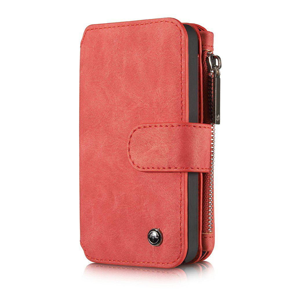 CaseMe for iPhone 5/5S/SE Premium PU Leather 2 in 1 Wallet Case with Kickstand 14 Card Holder and ID Slot - RED