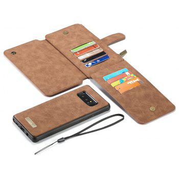 CaseMe for Samsung Galaxy Note 8 Wallet Case 2 in 1 Flip Folding Kickstand with 14 Card Slots Protective TPU PC Cover - BROWN