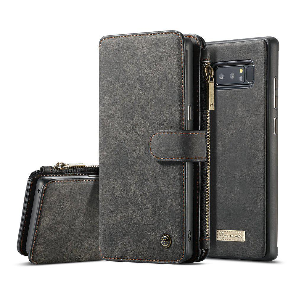 CaseMe for Samsung Galaxy Note 8 Wallet Case 2 in 1 Flip Folding Kickstand with 14 Card Slots Protective TPU PC Cover - BLACK