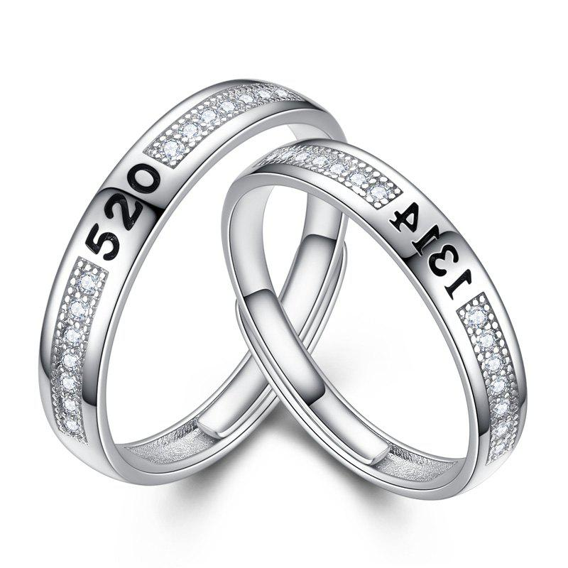 1 pairs of lovers' Silver Ring Adjustable0130 Jewelry Gift - SILVER WHITE ONE-SIZE