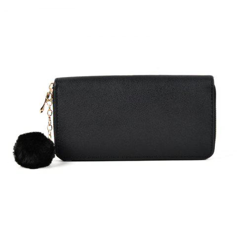 Pure Color Pompon Décoré Lady Classic Purse - Noir