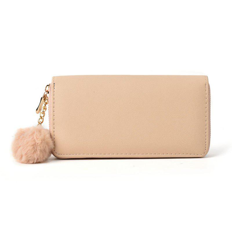 Pure Color Pompon Décoré Lady Classic Purse - Abricot