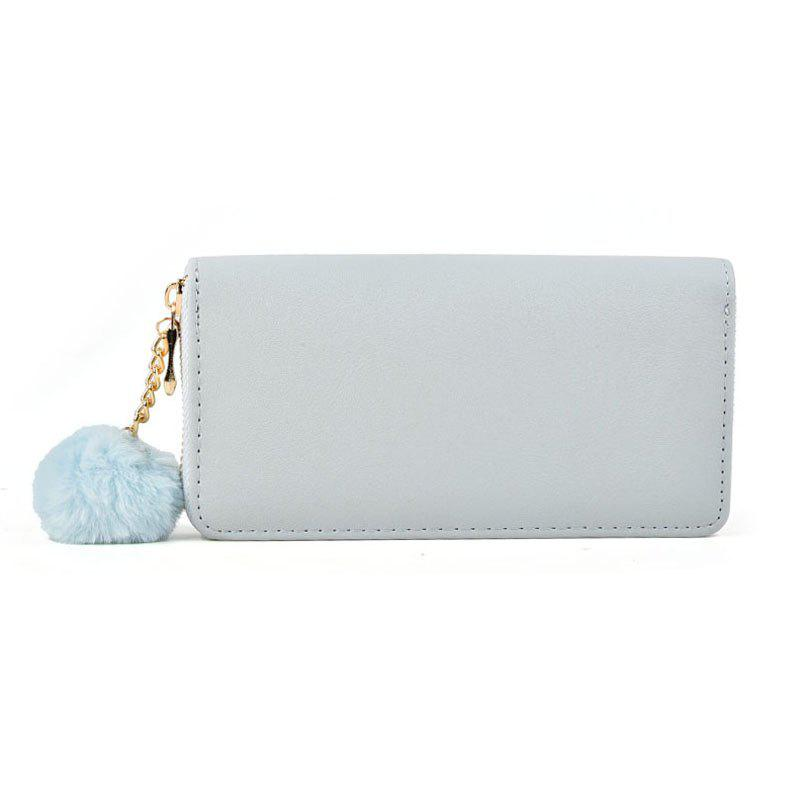 Pure Color Pompon Decorated Lady Classic Purse - LIGHT BLUE