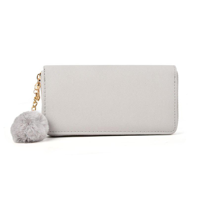Pure Color Pompon Decorated Lady Classic Purse - GRAY