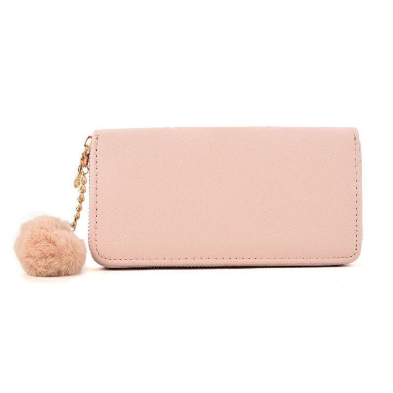 Pure Color Pompon Decorated Lady Classic Purse - PINK