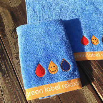 Pure Cotton Embroidery Smiley Face Small Square Towel 5PCS - BLUE