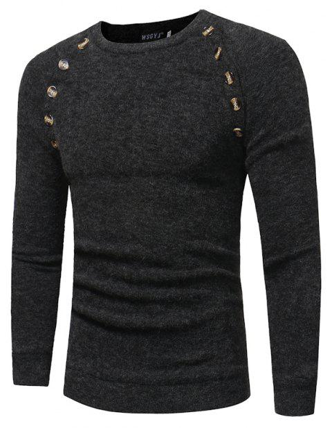 Men's New Fashion Button Stitching Solid Color Long-sleeved Knit Sweater - DARK GRAY 2XL