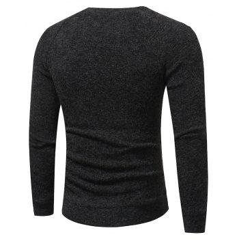 Men's New Fashion Button Stitching Solid Color Long-Sleeved Knit Sweater - DARK GRAY L