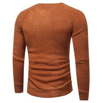 Men's New Fashion Button Stitching Solid Color Long-Sleeved Knit Sweater - CAMEL XL