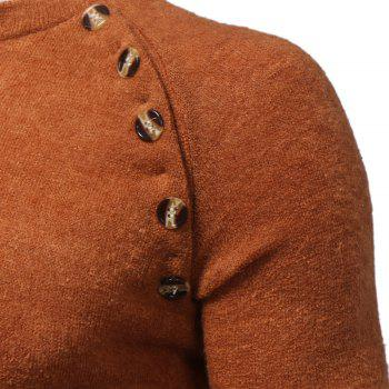 Men's New Fashion Button Stitching Solid Color Long-Sleeved Knit Sweater - CAMEL 3XL
