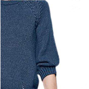 Round Collar Loose Knitting Sweater - LAPIS M