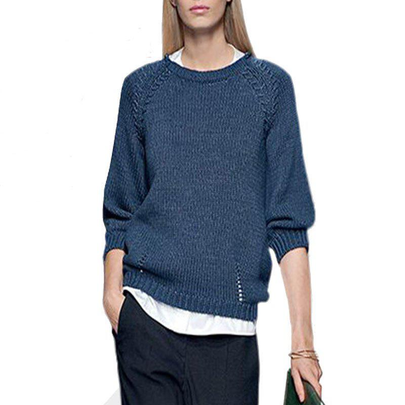 Round Collar Loose Knitting Sweater - LAPIS L
